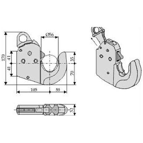 Unterlenker Fanghaken Kat. 2 CBM Schnellkuppler 66 kW Gewicht 2,3 kg – Bild 5