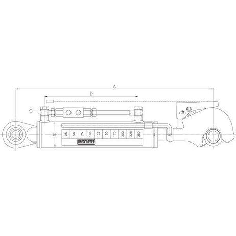 Hydraulischer Oberlenker Kat. 2 230mm Hub  – Bild 2