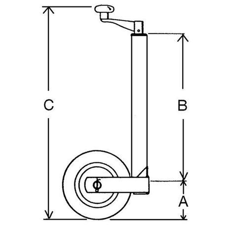 Pkw-Anhänger Stützrad 150kg Stützlast Radabmessung 260 x 85 mm – Bild 2
