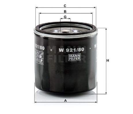 MANN Ölfilter W 921/80 A: 102mm B: 87mm C: 98mm H: 100mm Gewinde: M 20x1.5 – Bild 2
