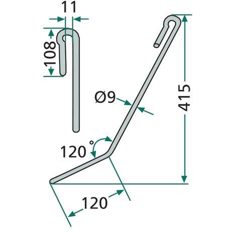 Striegelzinken kurz  II/III 952461 passend für Amazone Exaktstriegel Striegelzinken  – Bild 2