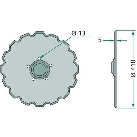 Säscheibe 20 Zähne,    Lochkreis-Ø 98 mm    Ø 410 mm  451371 passend für Väderstad Einzelkorn Sätechnik  – Bild 2